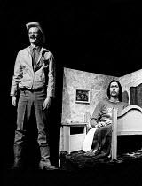 ILLUMINATUS! directed by Ken Campbell & Chris Langham   l-r: James (Jim) Broadbent (Sherrif Jim Cartwright of Mad Dog, Texas), Chris Langham (George Dorn)  Science Fiction Theatre of Liverpool Cottesl...