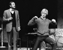 ENTERTAINING MR SLOANE by Joe Orton set design: John Gunter costumes: Deirdre Clancy lighting: Rory Dempster director: Roger Croucher l-r: Ronald Fraser (Ed), Malcolm McDowell (Sloane) Royal Court The...