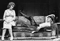 ENTERTAINING MR SLOANE by Joe Orton set design: John Gunter costumes: Deirdre Clancy lighting: Rory Dempster director: Roger Croucher Beryl Reid (Kath), Malcolm McDowell (Sloane) Royal Court Theatre (...