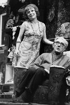 ENTERTAINING MR SLOANE by Joe Orton design: Saul Radomsky lighting: Mark Mumford director: Kenneth Williams ~~Barbara Windsor (Kath), David Blake Kelly (Kemp)~Lyric Hammersmith, London W6  18/03/1981...