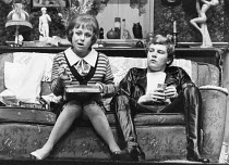 ENTERTAINING MR SLOANE by Joe Orton design: Saul Radomsky lighting: Mark Mumford director: Kenneth Williams ~~Barbara Windsor (Kath), Glyn Grimstead (Sloane)~Lyric Hammersmith, London W6  18/03/1981...