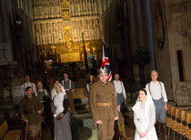 III/i - 'Once more unto the breach': centre - Rhys Bevan (Henry V) in HENRY V by Shakespeare opening at Southwark Cathedral, London SE1 on 03/02/2017   an Antic Disposition production design: John Ri...