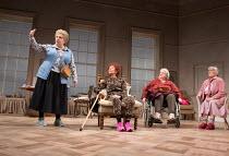l-r: Joanna Monro (June), Sheila Reid (Gloria), Maggie McCarthy (May), Rachel Davies (Maureen) in SILVER LINING by Sandi Toksvig opening at the Rose Theatre Kingston / Surrey, England on 08/02/2017...