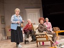 l-r: Joanna Monro (June), Maggie McCarthy (May), Sheila Reid (Gloria), Rachel Davies (Maureen) in SILVER LINING by Sandi Toksvig opening at the Rose Theatre Kingston / Surrey, England on 08/02/2017...
