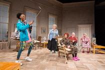 l-r: Keziah Joseph (Hope), Joanna Monro (June), Sheila Reid (Gloria), Maggie McCarthy (May), Rachel Davies (Maureen) in SILVER LINING by Sandi Toksvig opening at the Rose Theatre Kingston / Surrey, En...