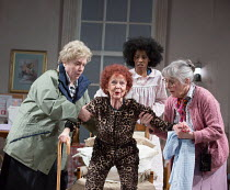 l-r: Joanna Monro (June), Sheila Reid (Gloria), Keziah Joseph (Hope), Rachel Davies (Maureen) in SILVER LINING by Sandi Toksvig opening at the Rose Theatre Kingston / Surrey, England on 08/02/2017   a...