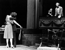 THE REAL INSPECTOR HOUND by Tom Stoppard set design: Carl Toms lighting: John B. Read director: Jeremy James Taylor   at right, in theatre box, l-r: Teddy Green (Moon), Terence Frisby (Birdfoot)  LO...