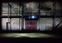 RICHARD III by Shakespeare set design: Jan Pappelbaum costumes: Florence von Gerkan & Ralf Tristan Scezsny lighting: Erich Schneider director: Thomas Ostermeier   stage,set,platform,stairs,steel,micro...