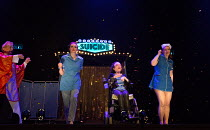 ASSISTED SUICIDE The Musical by Liz Carr and the company  composer: Ian Hill director : Mark Whitelaw   l-r: David James, Stephanie James, Liz Carr, Claire Willoughby   an In Company Collective / We A...