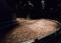 A MIDSUMMER NIGHT'S DREAM  by Shakespeare  set design & lighting: Johannes Schultz costumes: Michaela Barth  director: Joe Hill-Gibbons   stage,set,empty,soil,earth,mud The Young Vic (YV), London SE1...