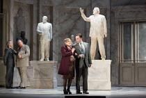 left: Timothy Robinson (Camillo), Iain Paterson (Leontes) observe Sophie Bevan (Hermione) with Leigh Melrose (Polixenes) in THE WINTER'S TALE opening at English National Opera (ENO), London Coliseum,...