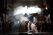 Hermione collapses - centre: Iain Paterson (Leontes) in THE WINTER'S TALE opening at English National Opera (ENO), London Coliseum, London WC2 on 27/02/2017 after Shakespeare's play music, libretto &...