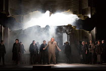 Hermione has collapsed and been taken away, apparently dead - centre: Iain Paterson (Leontes) in THE WINTER'S TALE opening at English National Opera (ENO), London Coliseum, London WC2 on 27/02/2017...
