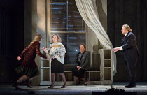 amazement at Hermione's return to life - l-r: Samantha Price (Perdita), Sophie Bevan (Hermione), Susan Bickley (Paulina), Iain Paterson (Leontes) in THE WINTER'S TALE opening at English National Opera...
