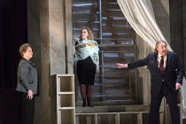 the 'statue' of Hermione shows signs of life - l-r: Susan Bickley (Paulina), Sophie Bevan (Hermione), Iain Paterson (Leontes) in THE WINTER'S TALE opening at English National Opera (ENO), London Colis...