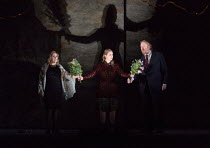 final scene, reconciliation - l-r: Sophie Bevan (Hermione), Samantha Price (Perdita), Iain Paterson (Leontes) in THE WINTER'S TALE opening at English National Opera (ENO), London Coliseum, London WC2...