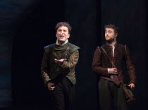 heads or tails? l-r: Joshua McGuire (Guildenstern), Daniel Radcliffe (Rosencrantz) in ROSENCRANTZ AND GUILDENSTERN ARE DEAD by Tom Stoppard opening at the Old Vic Theatre, London SE1 on 07/03/2017 des...
