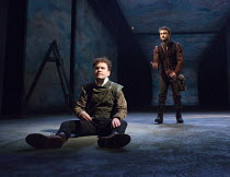 heads or tails?  l-r: Joshua McGuire (Guildenstern), Daniel Radcliffe (Rosencrantz) in ROSENCRANTZ AND GUILDENSTERN ARE DEAD by Tom Stoppard opening at the Old Vic Theatre, London SE1 on 07/03/2017 de...