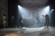 ROSENCRANTZ AND GUILDENSTERN ARE DEAD by Tom Stoppard design: Anna Fleischle lighting: Howard Harrison director: David Leveaux   entrance of the players with (right) David Haig (The Player) Old Vic Th...