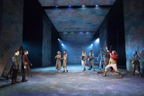left: Joshua McGuire (Guildenstern), Daniel Radcliffe (Rosencrantz) right: David Haig (The Player) in ROSENCRANTZ AND GUILDENSTERN ARE DEAD by Tom Stoppard opening at the Old Vic Theatre, London SE1 o...