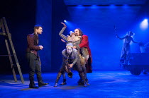 l-r: Daniel Radcliffe (Rosencrantz), Louisa Beadel (Player), Evlyne Oyedokun (Player), David Haig (The Player) in ROSENCRANTZ AND GUILDENSTERN ARE DEAD by Tom Stoppard opening at the Old Vic Theatre,...