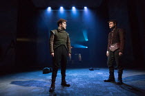 l-r: Joshua McGuire (Guildenstern), Daniel Radcliffe (Rosencrantz) in ROSENCRANTZ AND GUILDENSTERN ARE DEAD by Tom Stoppard opening at the Old Vic Theatre, London SE1 on 07/03/2017 design: Anna Fleisc...