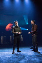 l-r: Joshua McGuire (Guildenstern), Daniel Radcliffe (Rosencrantz)  in ROSENCRANTZ AND GUILDENSTERN ARE DEAD by Tom Stoppard opening at the Old Vic Theatre, London SE1 on 07/03/2017 design: Anna Fleis...