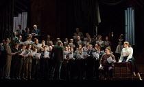 opening scene, with female members of the Royal Opera chorus disguised as men - right: Bryn Terfel (Hans Sachs), Rachel Willis-Sorensen (Eva) in DIE MEISTERSINGER VON NURNBERG (The Mastersingers) by W...