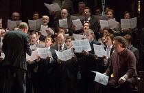 opening scene, with female members of the Royal Opera chorus disguised as men - right: Bryn Terfel (Hans Sachs) in DIE MEISTERSINGER VON NURNBERG (The Mastersingers) by Wagner opening at The Royal Ope...