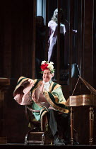 Johannes Martin Kranzle (Sixtus Beckmesser) with Rachel Willis-Sorensen (Eva) in DIE MEISTERSINGER VON NURNBERG (The Mastersingers) by Wagner opening at The Royal Opera, Covent Garden, London WC2 on 1...