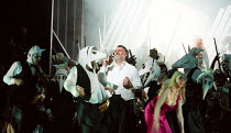 Act 2 - the riot: Bryn Terfel (Hans Sachs) in DIE MEISTERSINGER VON NURNBERG (The Mastersingers) by Wagner opening at The Royal Opera, Covent Garden, London WC2 on 11/03/2017 conductor: Antonio Pappan...