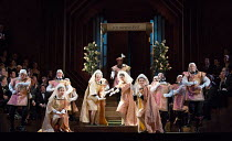 the contest: townspeople in ceremonial costumes in DIE MEISTERSINGER VON NURNBERG (The Mastersingers) by Wagner opening at The Royal Opera, Covent Garden, London WC2 on 11/03/2017 conductor: Antonio P...