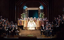 the contest - Eva arrives: Rachel Willis-Sorensen (Eva) in DIE MEISTERSINGER VON NURNBERG (The Mastersingers) by Wagner opening at The Royal Opera, Covent Garden, London WC2 on 11/03/2017 conductor: A...