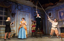front, l-r: Griff Rhys Jones (Harpagon - The Miser), Katy Wix (Elise), Matthew Horne (Valere), Lee Mack (Maitre Jacques) in THE MISER by Moliere opening at the Garrick Theatre, London WC2 on 10/03/201...