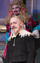 Griff Rhys Jones (Harpagon - The Miser), (rear) Ryan Gage (Cleante) in THE MISER by Moliere opening at the Garrick Theatre, London WC2 on 10/03/2017 freely adapted by Sean Foley & Phil Porter design:...