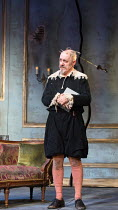 Griff Rhys Jones (Harpagon - The Miser) in THE MISER by Moliere opening at the Garrick Theatre, London WC2 on 10/03/2017 freely adapted by Sean Foley & Phil Porter design: Alice Power lighting: Paul K...