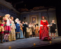 right: Andi Osho (Frosine), Griff Rhys Jones (Harpagon - The Miser) in THE MISER by Moliere opening at the Garrick Theatre, London WC2 on 10/03/2017 freely adapted by Sean Foley & Phil Porter design:...