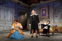 l-r: Katy Wix (Elise), Griff Rhys Jones (Harpagon - The Miser), Matthew Horne (Valere) in THE MISER by Moliere opening at the Garrick Theatre, London WC2 on 10/03/2017 freely adapted by Sean Foley & P...