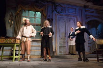 front, l-r: Lee Mack (Maitre Jacques), Griff Rhys Jones (Harpagon - The Miser), Matthew Horne (Valere) in THE MISER by Moliere opening at the Garrick Theatre, London WC2 on 10/03/2017 freely adapted b...