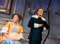 Katy Wix (Elise), Matthew Horne (Valere) in THE MISER by Moliere opening at the Garrick Theatre, London WC2 on 10/03/2017 freely adapted by Sean Foley & Phil Porter design: Alice Power lighting: Paul...