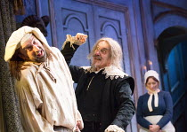 l-r: Lee Mack (Maitre Jacques), Griff Rhys Jones (Harpagon - The Miser) in THE MISER by Moliere opening at the Garrick Theatre, London WC2 on 10/03/2017 freely adapted by Sean Foley & Phil Porter desi...
