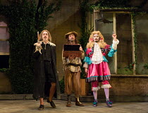 l-r: Griff Rhys Jones (Harpagon - The Miser), Lee Mack (Maitre Jacques), Ryan Gage (Cleante) in THE MISER by Moliere opening at the Garrick Theatre, London WC2 on 10/03/2017 freely adapted by Sean Fol...