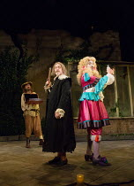 l-r: Lee Mack (Maitre Jacques), Griff Rhys Jones (Harpagon - The Miser), Ryan Gage (Cleante) in THE MISER by Moliere opening at the Garrick Theatre, London WC2 on 10/03/2017 freely adapted by Sean Fol...