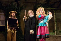 l-r: Lee Mack (Maitre Jacques), Griff Rhys Jones (Harpagon - The Miser), Ryan Gage (Cleante) in THE MISER by Moliere opening at the Garrick Theatre, London WC2 on 10/03/2017   freely adapted by Sean F...