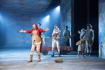 front left: David Haig (The Player) with the players in ROSENCRANTZ AND GUILDENSTERN ARE DEAD by Tom Stoppard opening at the Old Vic Theatre, London SE1 on 07/03/2017   design: Anna Fleischle lighting...