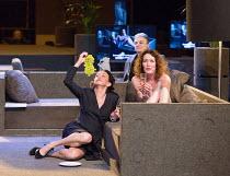l-r: Marieke Heebink (Charmian), (rear) Frieda Pittoors (Iris) Chris Nietvelt (Cleopatra) in ANTONY AND CLEOPATRA opening at the Barbican Theatre, Barbican Centre, London EC2 on 17/03/2017 a Toneelgro...