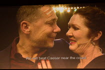stage action relayed on video screen: Hans Kesting (Marcus Antonius), Chris Nietvelt (Cleopatra) in ANTONY AND CLEOPATRA opening at the Barbican Theatre, Barbican Centre, London EC2 on 17/03/2017 a To...