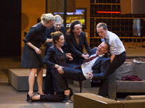 centre: Chris Nietvelt (Cleopatra), Hans Kesting (Marcus Antonius) in ANTONY AND CLEOPATRA opening at the Barbican Theatre, Barbican Centre, London EC2 on 17/03/2017 a Toneelgroep, Amsterdam productio...