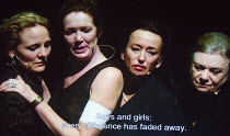 stage action relayed on video screen l-r: Janni Goslinga (Diomedes), Chris Nietvelt (Cleopatra), Marieke Heebink (Charmian), Frieda Pittoors (Iris) in ANTONY AND CLEOPATRA opening at the Barbican Thea...