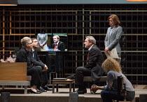 l-r: Frieda Pittoors (Volumnia), Ramsey Nasr (Menenius), Gijs Scholten van Aschat (Coriolanus), Maria Kraakman (Cominius) in CORIOLANUS opening at the Barbican Theatre, Barbican Centre, London EC2 on...